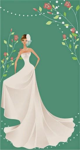 Novia con vestido de novia de blanco