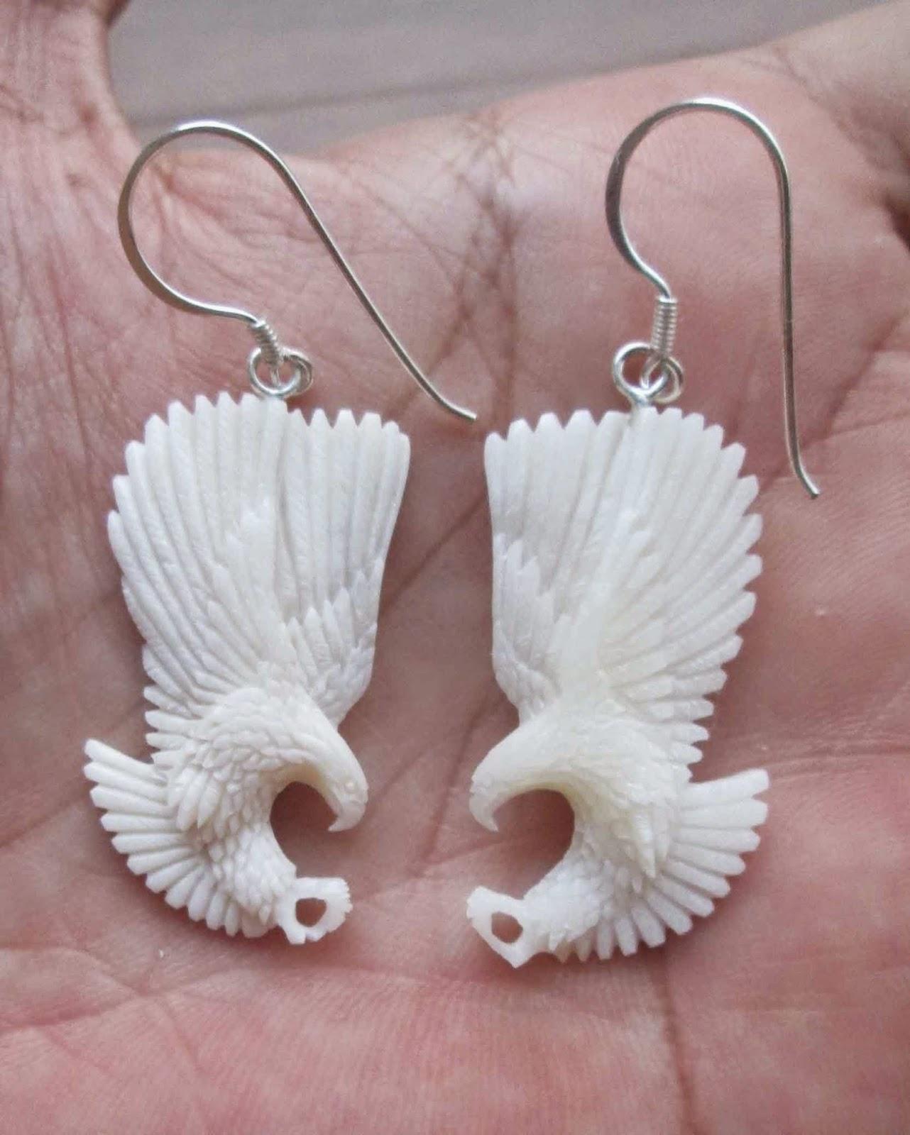 Hand carved eagle bone earring
