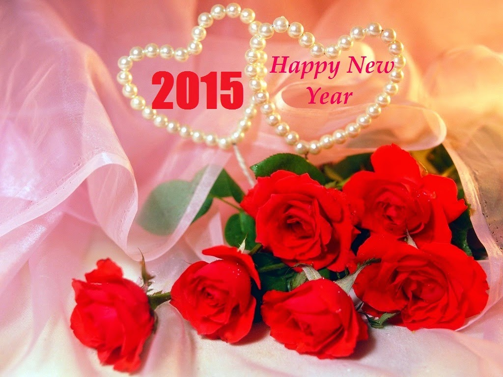 Very Nice Happy New Year 2015 Greetings Roses Wallpaper