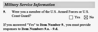 military service information in uscis i821d by illegal immigrant dreamer applicant for daca