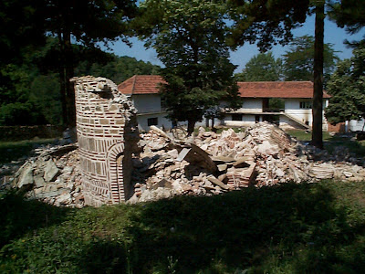 The destruction of the Church of the Holy Trinity by the religion of peace in 1999. Serbian Orthodox Diocese of Raska and Prizen Kosovo