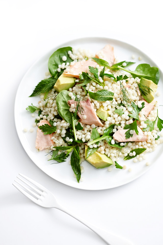 Poached salmon, herb and pearl cous-cous salad recipe | Lush Loves