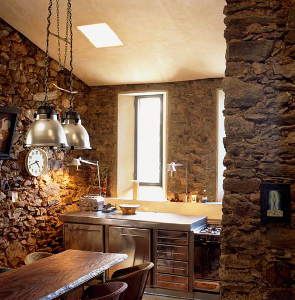 Interior Stone Wall Kitchen: Black And White Interiors