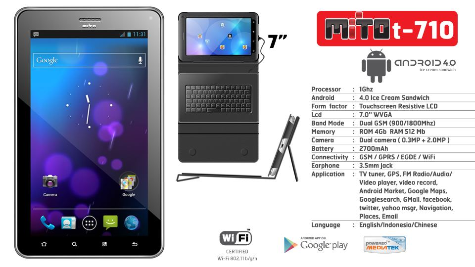 Mito T710 - Spesifikasi Tablet Android 7 Inch Dual SIM Telepon SMS ...
