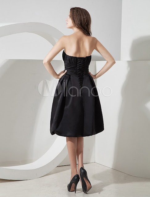 China Wholesale Clothes - Fabulous Strapless Pleated Wrapped Satin Prom Homecoming Dress
