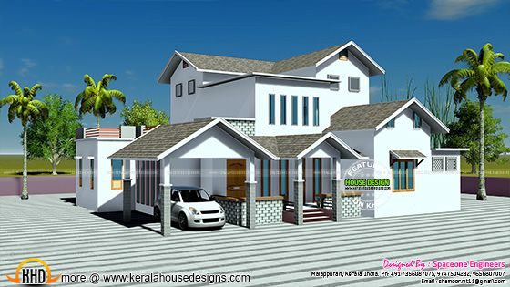 2250 square feet slop roof home plan
