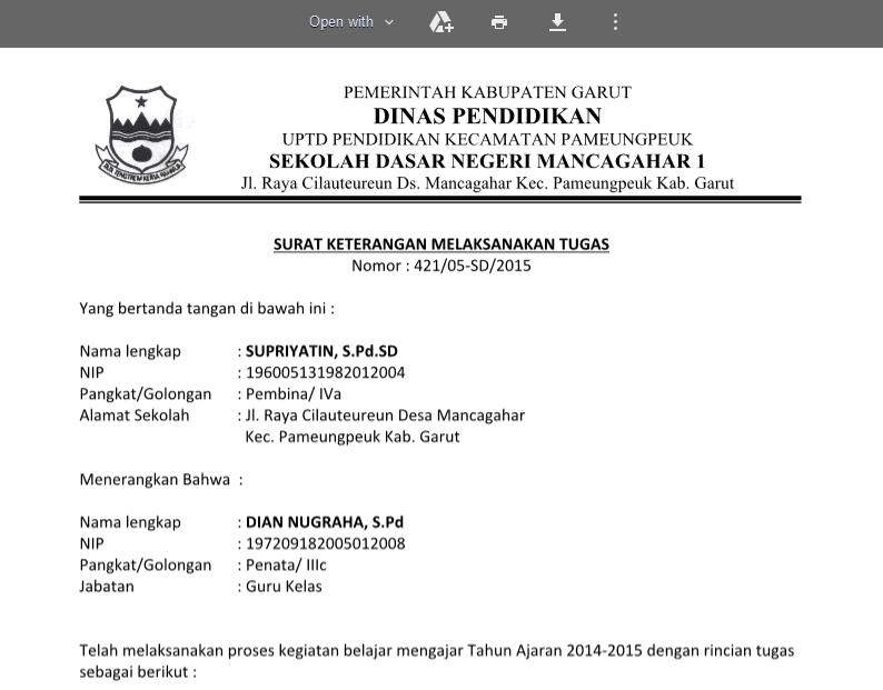 Contoh Format SK Melaksanakan Tugas Guru (Template Kosong)