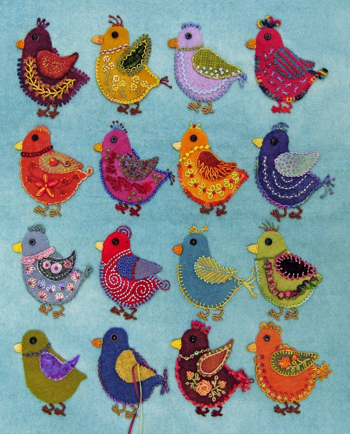 Robin Atkins embroidered, wool applique chicks, unfinished