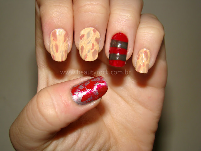 Nail art Freddy Krueger, Unhas terror, halloween