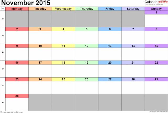 November 2015 Printable Blank Calendar