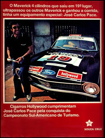 Souza Cruz e José Carlos Pace; brazilian advertising cars in the 70. os anos 70. história da década de 70; Brazil in the 70s; propaganda carros anos 70; Oswaldo Hernandez;