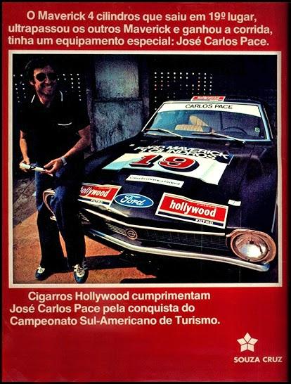 Souza Cruz e José Carlos Pace; brazilian advertising cars in the 70. os anos 70. história da década de 70; Brazil in the 70s; propaganda carros anos 70; Oswaldo Hernandez;