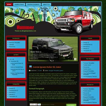 Hummer Blogger Template. free automotive blogger template