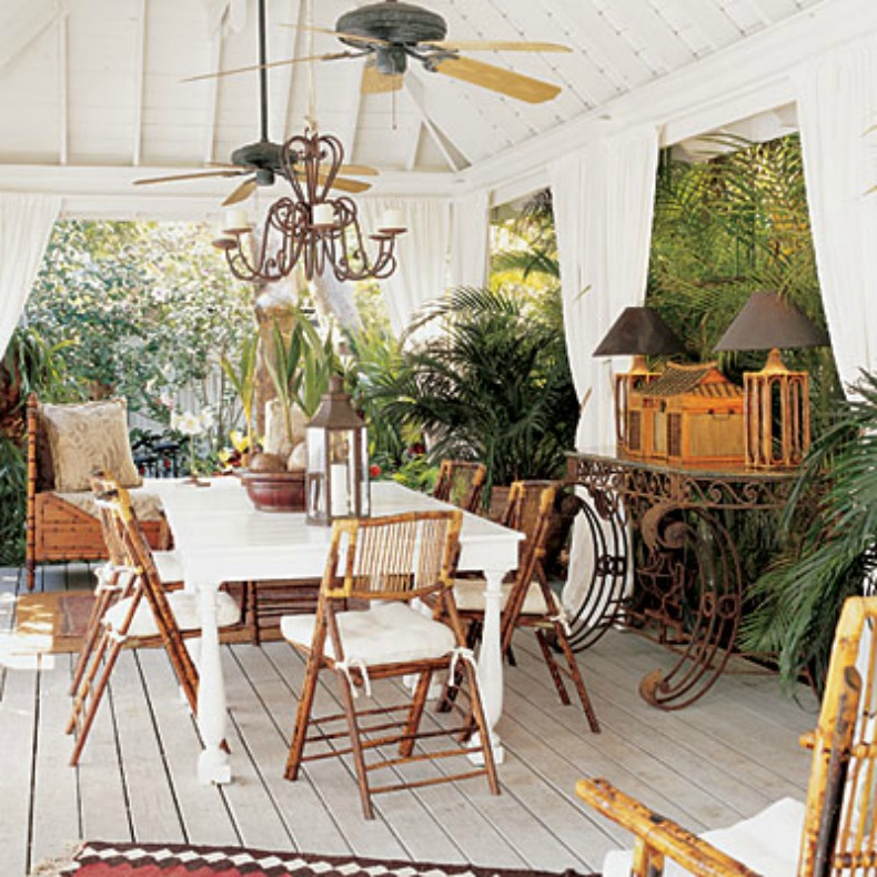 Key West Themed Backyard : British Colonial style outdoor dining room with lots of style