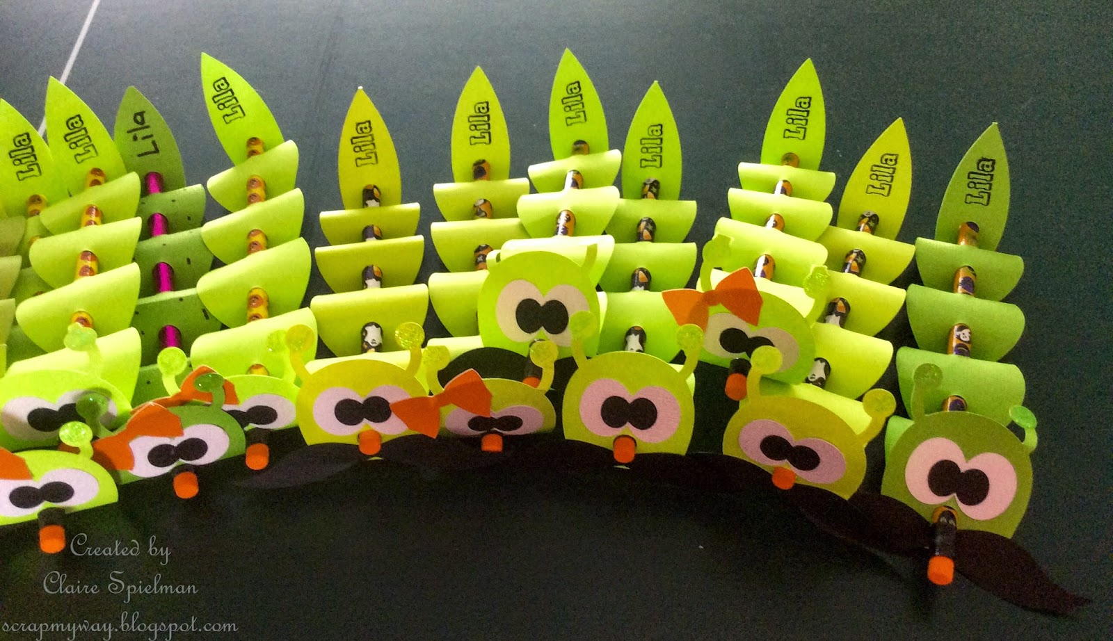 scrap my way cute creepy inchworm pencil topper
