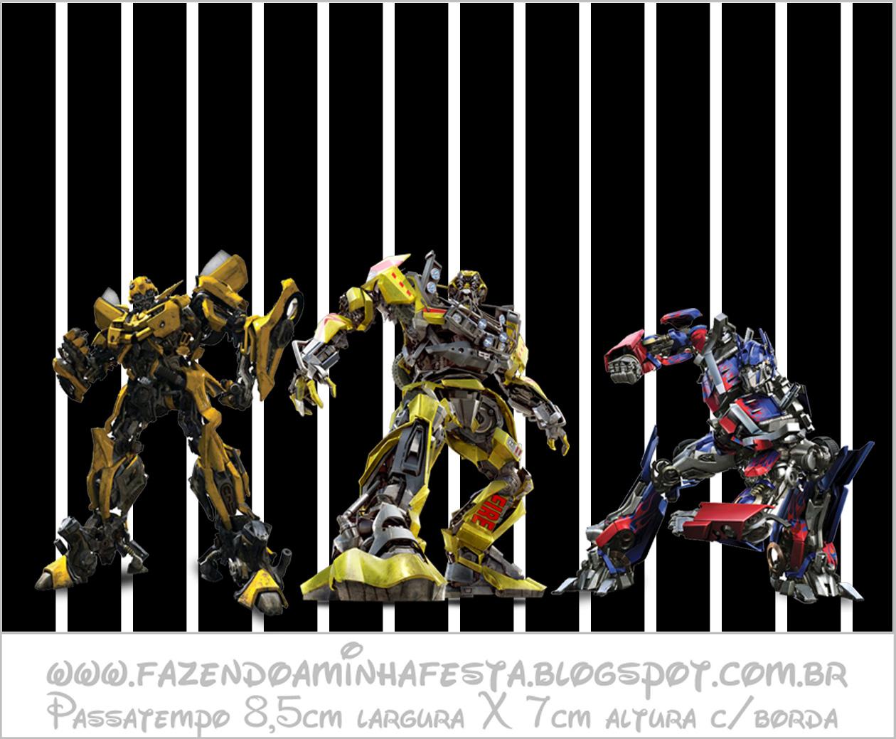 Transformers  Kit Completo com molduras para convites, rótulos para