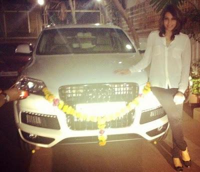 Bipasha Basu snapped with her Latest Car Audi Q7