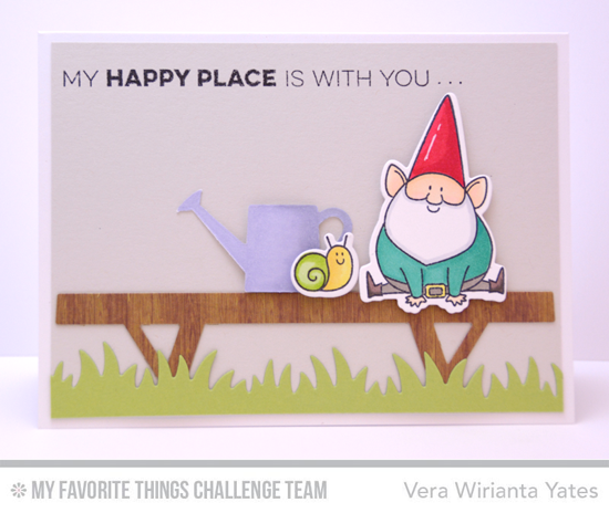 Happy Place Card from Vera Wirianta Yates featuring the Birdie Brown You Gnome Me stamp set and Die-namics