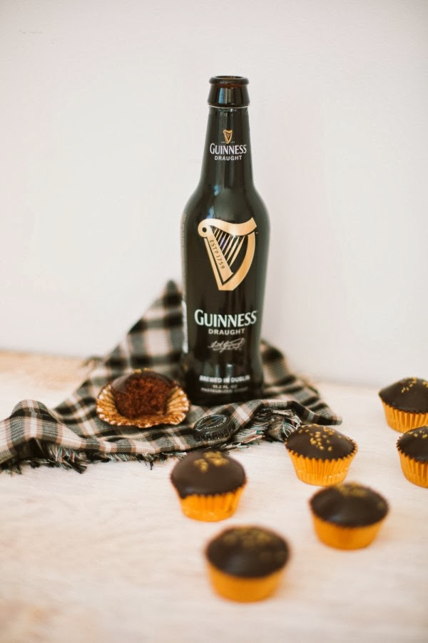 Bite Sized Chocolate Guiness Cupcakes