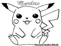 Gambar Pikachu Untuk Diwarnai