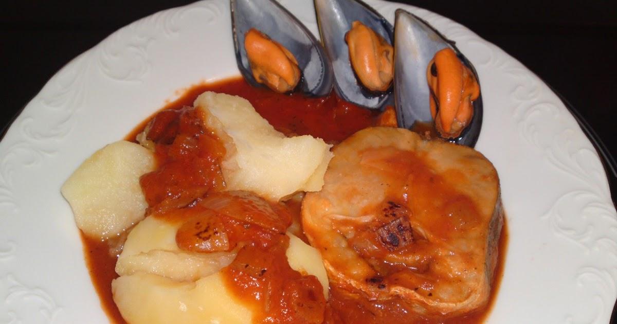 Mis recetas de cocina fsr merluza con patatas y for Cocinar mejillones en salsa