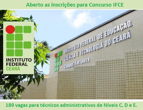 Editais abertos: Concurso IFCE para técnicos administrativos