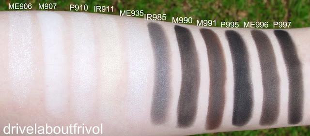 swatch Shu Uemura eyeshadow ME906 ME 906, M907 M 907, P910 P 910, IR911 IR 911, ME935 ME 935, IR985 IR 985, M991 M 991, P995 P 995, ME996 ME 996, P997 P 997