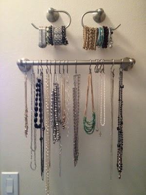 Organize jewelry with towel bar and toilet paper holders :: OrganizingMadeFun.com
