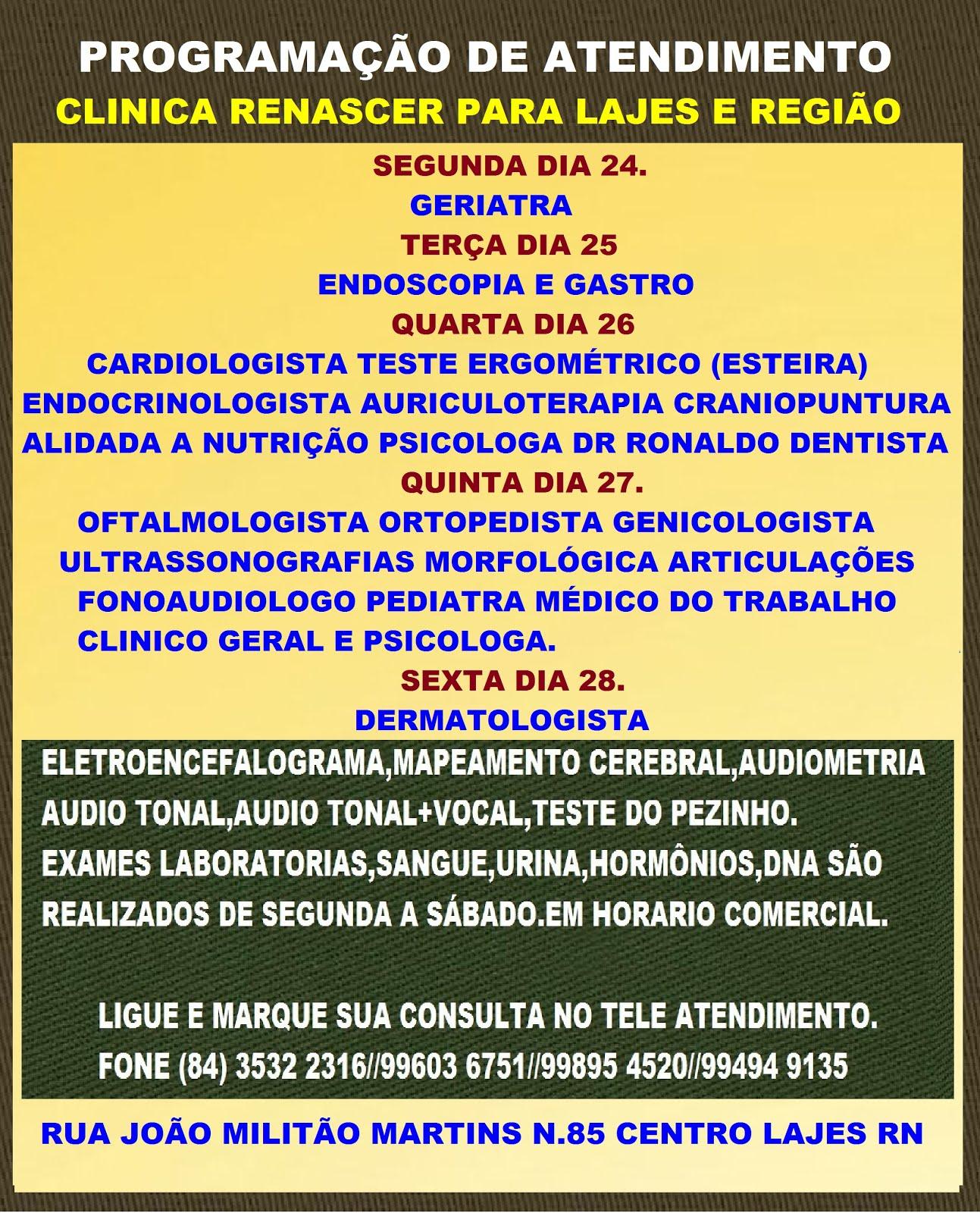 PROGRAMAÇÃO CLINICA RENASCER PARA LAJES E REGIÃO