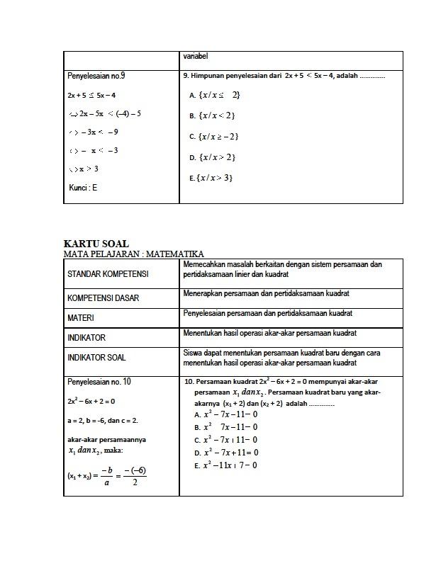 Catatan Ilmu Unas Siapa Takut Kartu Soal Uan Matematika Smk