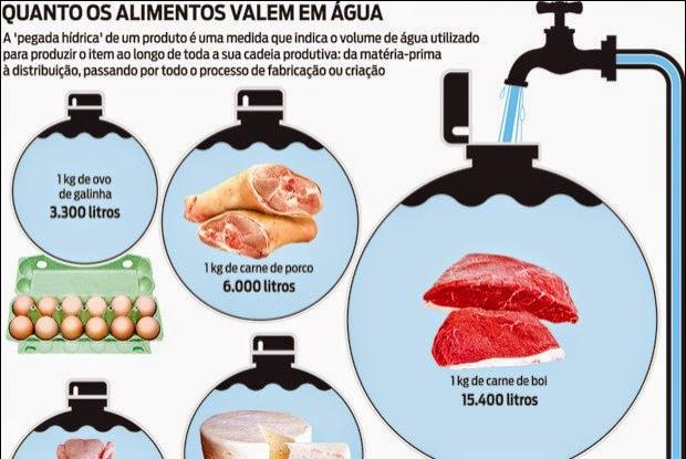 1 kg de carne = 15.400 litros de água a menos no mundo