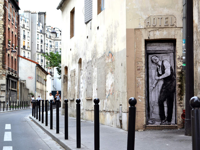 Levalet is back on the streets of Paris in France with a brand new piece that just popped up in the 19th district of the city.