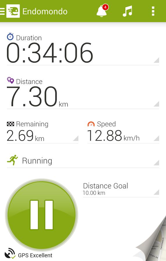 Tracking a run using the Endomondo app