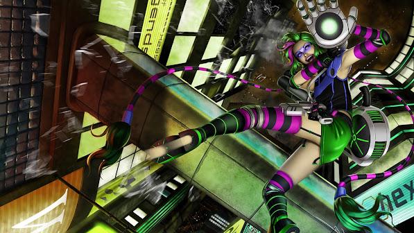 cyberpunk jinx skin art girl league of legends