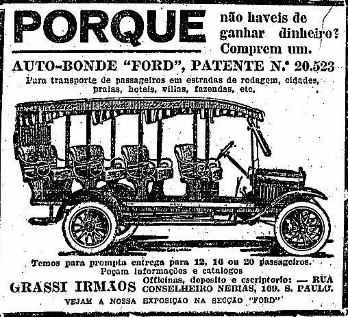 Propaganda do Auto-Bonde da Ford para 20 passageiros, em 1925.