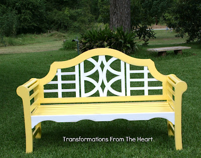 Painted yellow teak wood bench