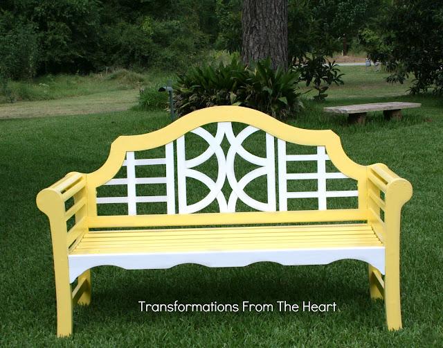painted yellow teak wood bench