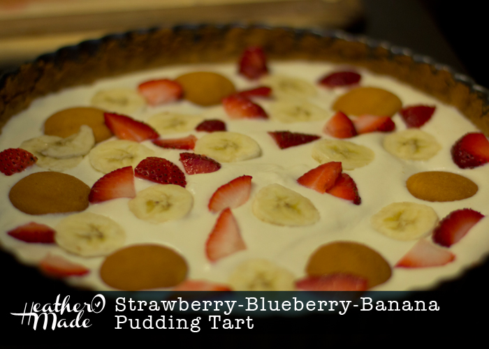 Strawberry-Blueberry-Banana Pudding Tart. dessert recipe. 4th of july. red white blue. heatheromade.