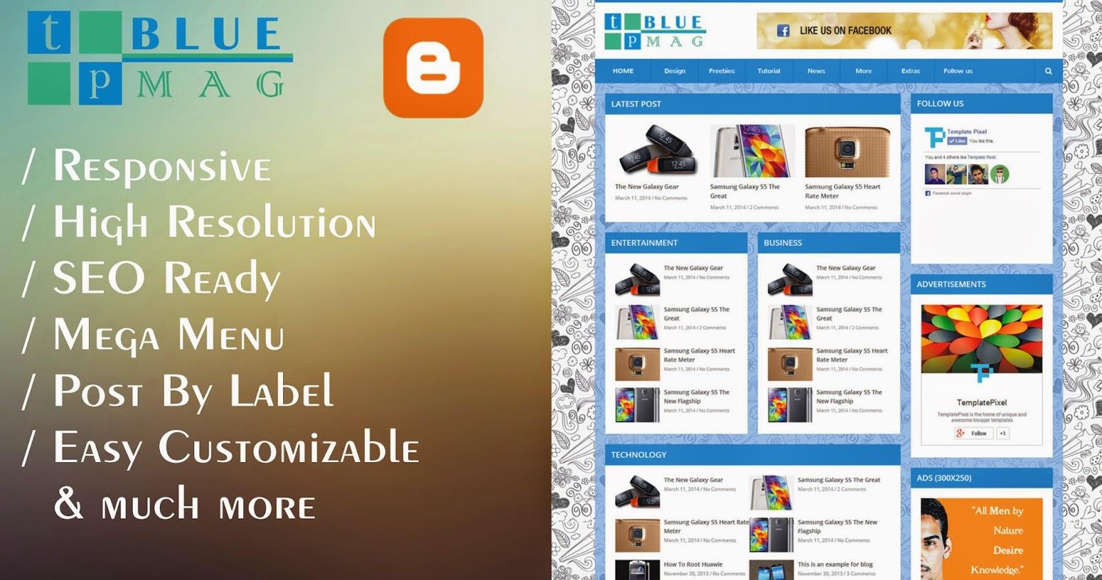 TP Blue Mag - Blogger Template đẹp cho trang tin tức công nghệ