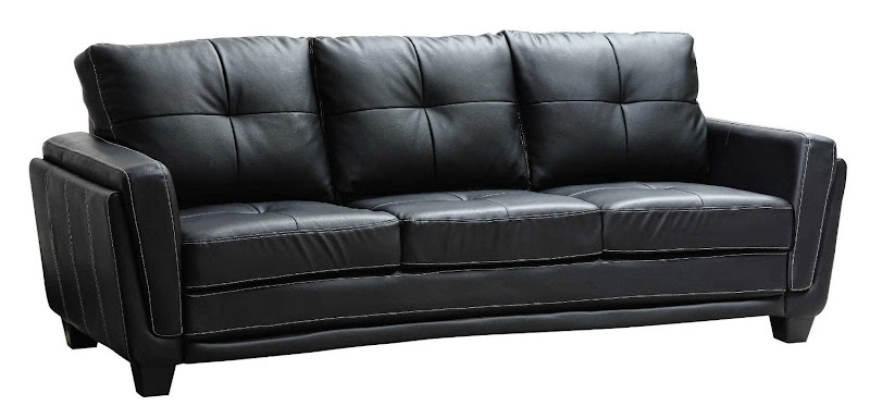 Black Leather and Fabric Sofa