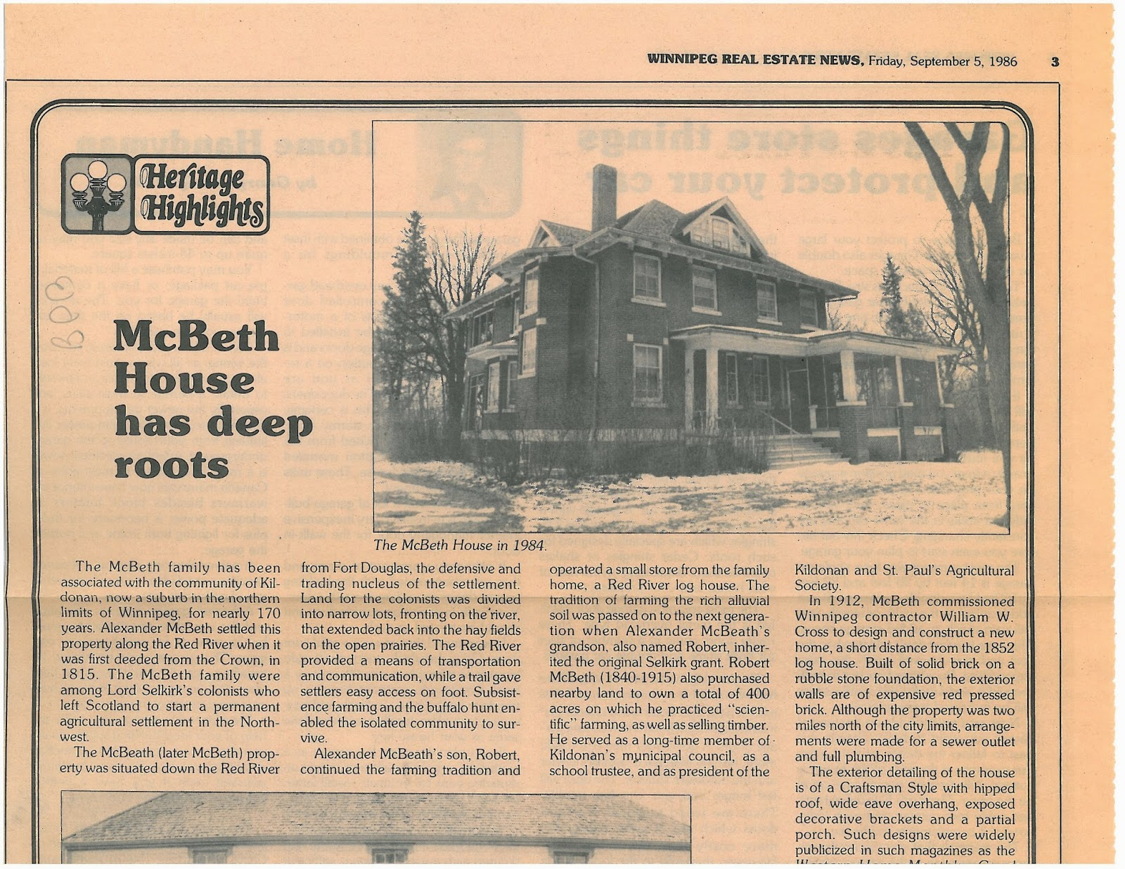 McBeth House has deep roots - click for article PDF