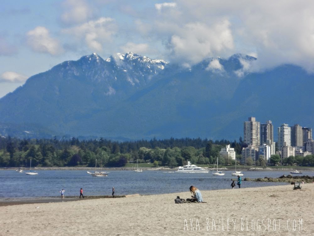 Spring day on Kitsilano Beach, view of the mountains and downtown Vancouver, Stanley Park