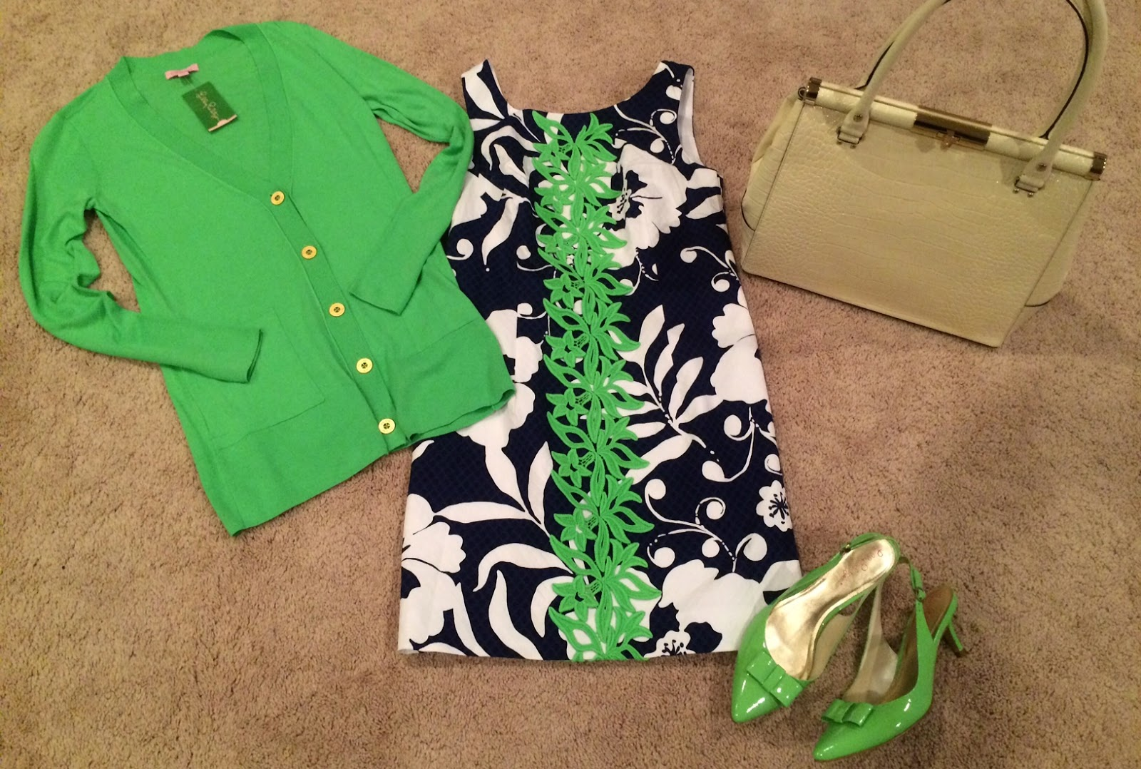 lilly pulitzer easter outfit delia dress johnny b kate spade bag
