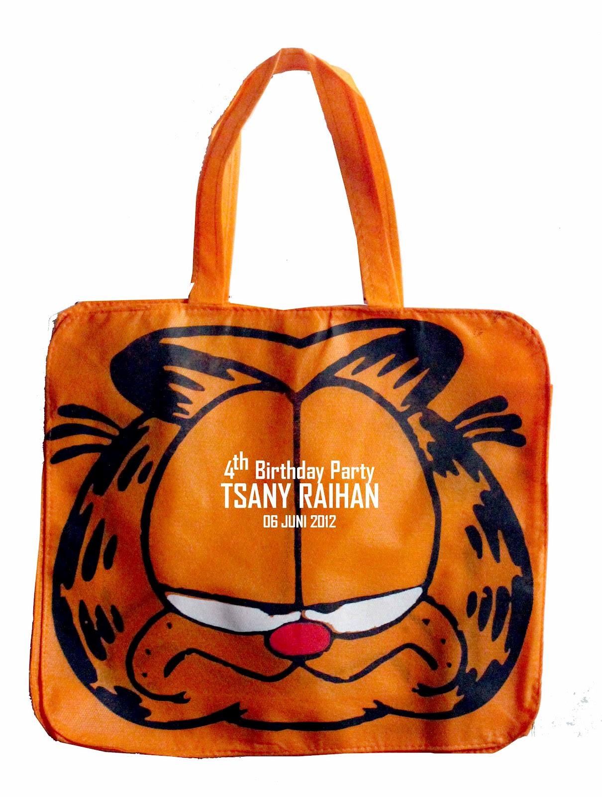 Goody Bag Garfield Dengan Contoh Sablon Untuk Ulang Tahun Anak