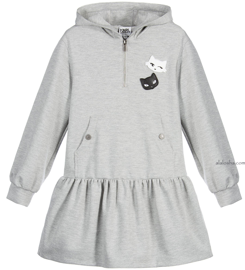 Grey Hooded 'Karl Trends' Sweatshirt Dress