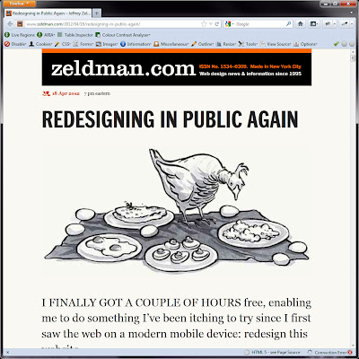 Screen shot of http://www.zeldman.com/2012/04/18/redesigning-in-public-again/.