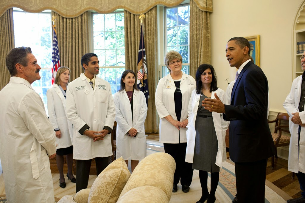 Barack Obama consulting his doctors