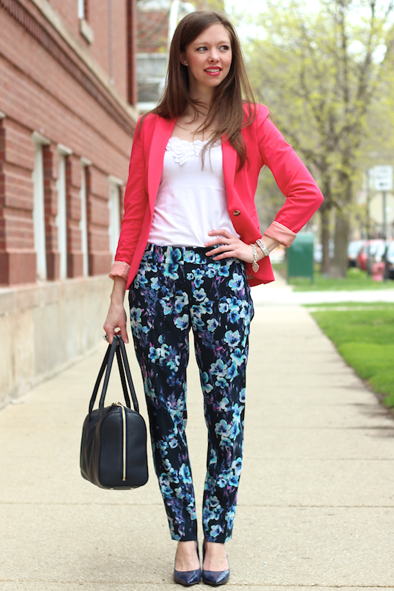 Pink Blazer Blue Floral Pants | StyleSidebar