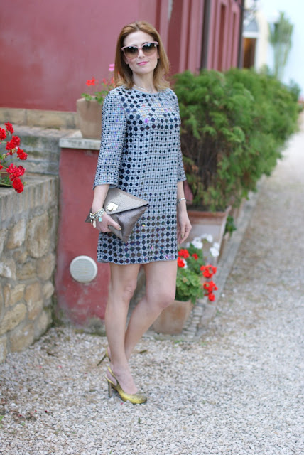 French connection mini dress, envelope clutch, Fashion and Cookies