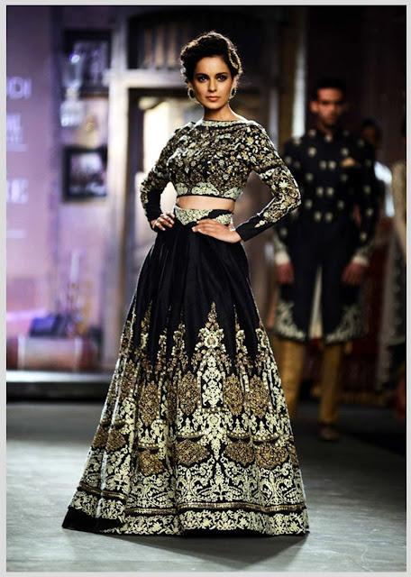Kangana Ranaut At India Couture Week Wearing Designer Lehenga Of Anju Modi